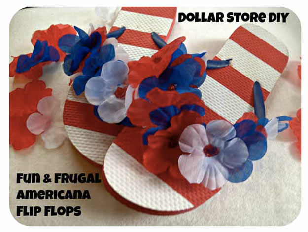 Cool Crafts for Teen Girls - Best DIY Projects for Teenage Girls - Fun and Frugal Americana Flip Flops #teencrafts #diyteens #coolcrafts #crafts #diyideas
