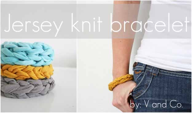 Cool Crafts You Can Make for Less than 5 Dollars | Cheap DIY Projects Ideas for Teens, Tweens, Kids and Adults | Jersey Knit Bracelet | http://diyprojectsforteens.com/cheap-diy-ideas-for-teens/