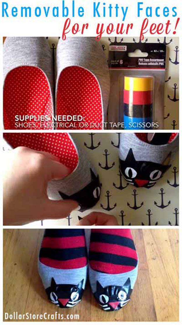 Cool Crafts for Teen Girls - Best DIY Projects for Teenage Girls - Kitty Toe Shoes - http://diyprojectsforteens.com/cool-crafts-for-teen-girls/
