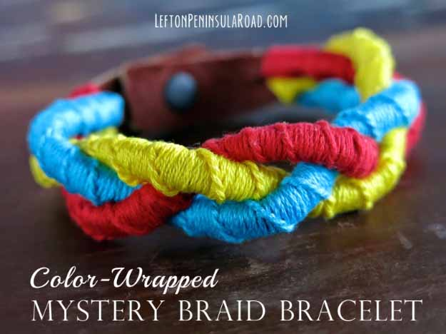 Cool Crafts You Can Make for Less than 5 Dollars | Cheap DIY Projects Ideas for Teens, Tweens, Kids and Adults | Color-Wrapped Mystery Braid Bracelet | http://diyprojectsforteens.com/cheap-diy-ideas-for-teens/