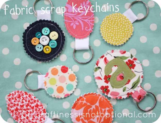 Cool Crafts You Can Make for Less than 5 Dollars | Cheap DIY Projects Ideas for Teens, Tweens, Kids and Adults | Fabric Scrap Key Chains | http://diyprojectsforteens.com/cheap-diy-ideas-for-teens/