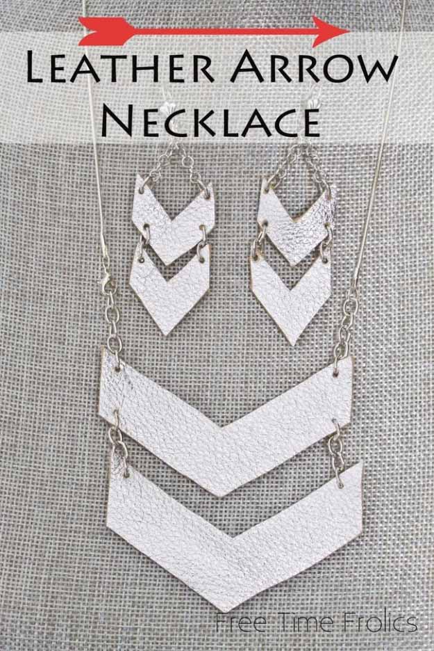 Cool Crafts You Can Make for Less than 5 Dollars | Cheap DIY Projects Ideas for Teens, Tweens, Kids and Adults | Leather Arrow Necklace & Earrings | http://diyprojectsforteens.com/cheap-diy-ideas-for-teens/