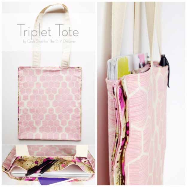 Cool Crafts You Can Make for Less than 5 Dollars | Cheap DIY Projects Ideas for Teens, Tweens, Kids and Adults | Triple Tote | http://diyprojectsforteens.com/cheap-diy-ideas-for-teens/