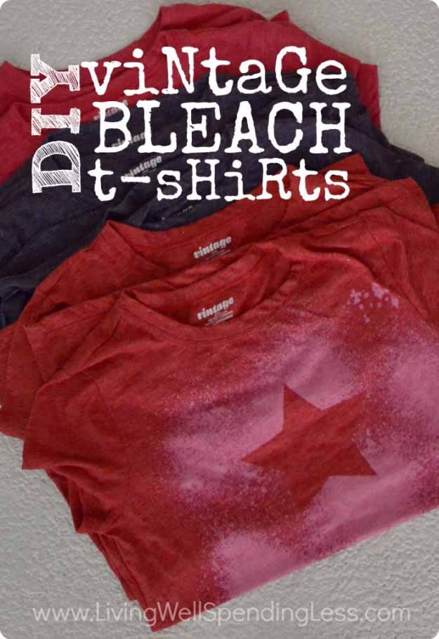 Cool Crafts You Can Make for Less than 5 Dollars | Cheap DIY Projects Ideas for Teens, Tweens, Kids and Adults | Vintage Freezer Paper Bleach T-Shirts | http://diyprojectsforteens.com/cheap-diy-ideas-for-teens/