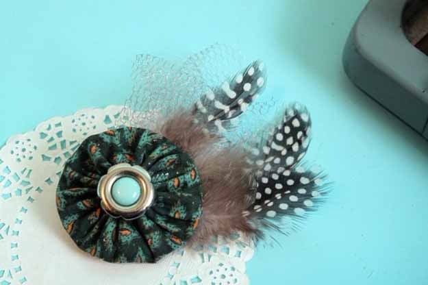 Cool Crafts You Can Make for Less than 5 Dollars | Cheap DIY Projects Ideas for Teens, Tweens, Kids and Adults | Forest Frolic Yoyo Hair Clip | http://diyprojectsforteens.com/cheap-diy-ideas-for-teens/
