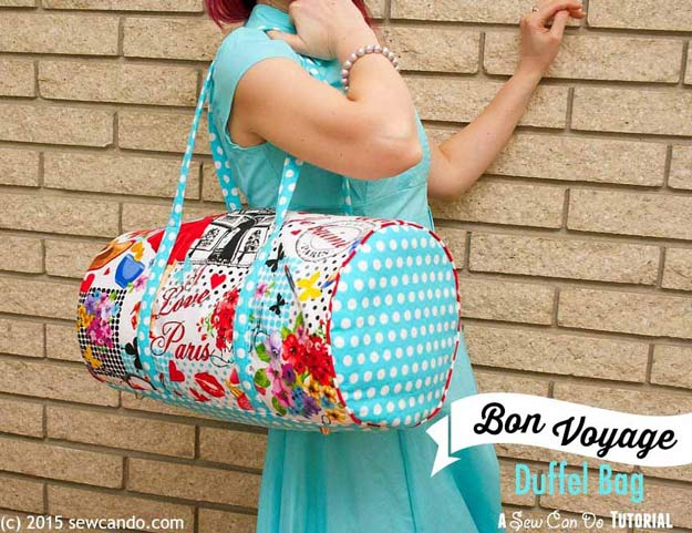 Cool Crafts for Teen Girls - Best DIY Projects for Teenage Girls - Bon Voyage Travel Duffel Bag - http://diyprojectsforteens.com/cool-crafts-for-teen-girls/