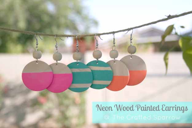 Cool Crafts You Can Make for Less than 5 Dollars | Cheap DIY Projects Ideas for Teens, Tweens, Kids and Adults | Neon Wood Painted Earring | http://diyprojectsforteens.com/cheap-diy-ideas-for-teens/
