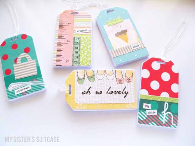 Cool Crafts You Can Make for Less than 5 Dollars | Cheap DIY Projects Ideas for Teens, Tweens, Kids and Adults | Custom Luggage Tags | http://diyprojectsforteens.com/cheap-diy-ideas-for-teens/