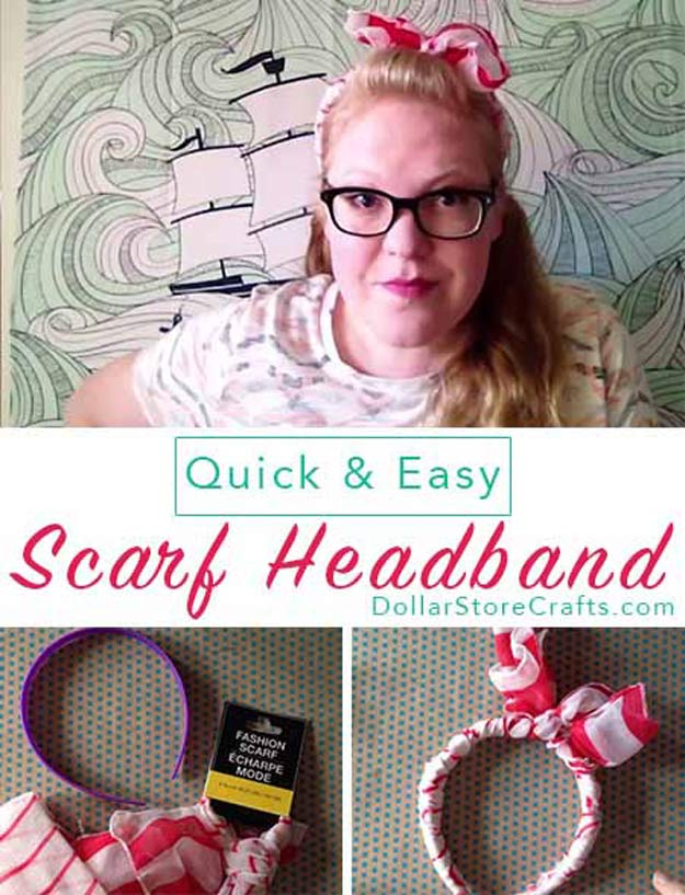Cool Crafts for Teen Girls - Best DIY Projects for Teenage Girls - Easy Scarf Headband - http://diyprojectsforteens.com/cool-crafts-for-teen-girls/
