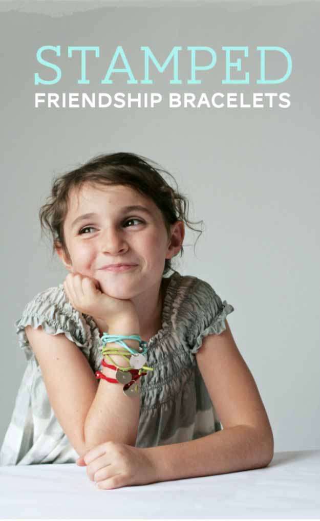 Cool Crafts You Can Make for Less than 5 Dollars | Cheap DIY Projects Ideas for Teens, Tweens, Kids and Adults | Stamped Friendship Bracelets | http://diyprojectsforteens.com/cheap-diy-ideas-for-teens/