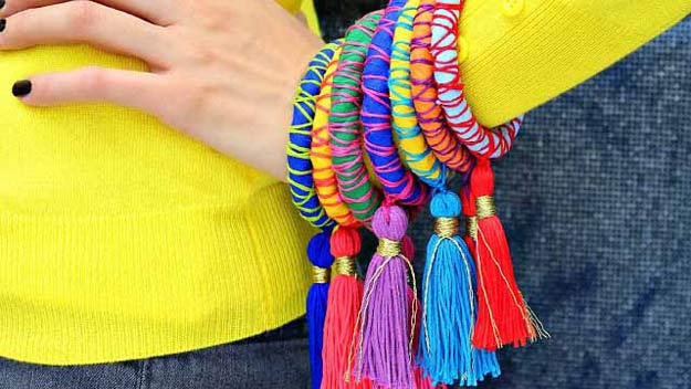 Cool Crafts for Teen Girls - Best DIY Projects for Teenage Girls - Rope and Tassel Bangles #teencrafts #diyteens #coolcrafts #crafts #diyideas