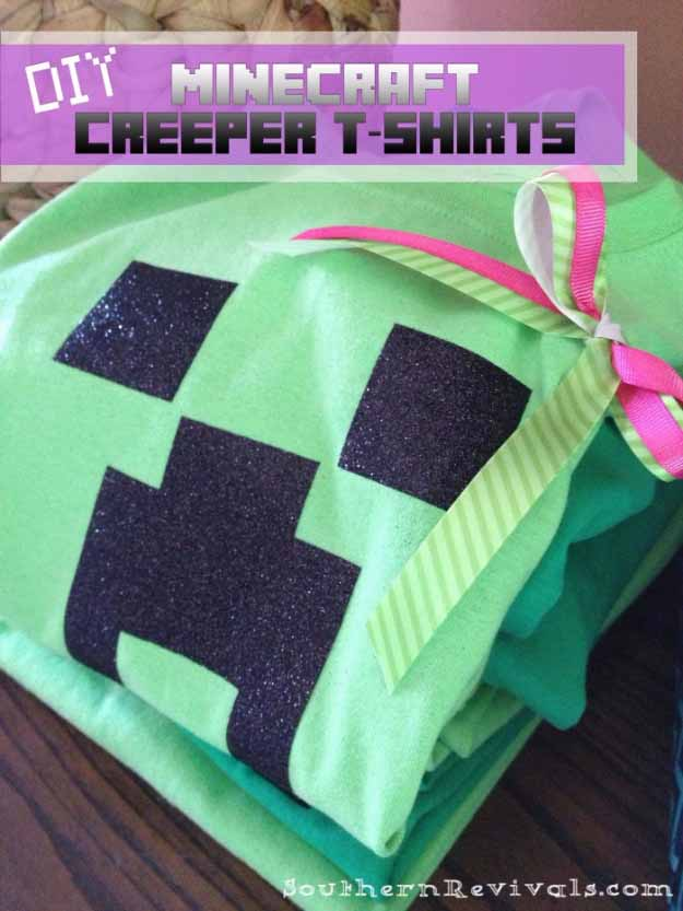 Cool Crafts You Can Make for Less than 5 Dollars | Cheap DIY Projects Ideas for Teens, Tweens, Kids and Adults | DIY Minecraft Creeper Shirts | http://diyprojectsforteens.com/cheap-diy-ideas-for-teens/