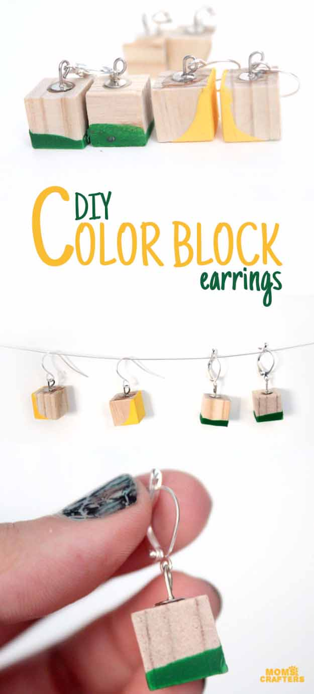 Cool Crafts You Can Make for Less than 5 Dollars | Cheap DIY Projects Ideas for Teens, Tweens, Kids and Adults | Color block earrings | http://diyprojectsforteens.com/cheap-diy-ideas-for-teens/