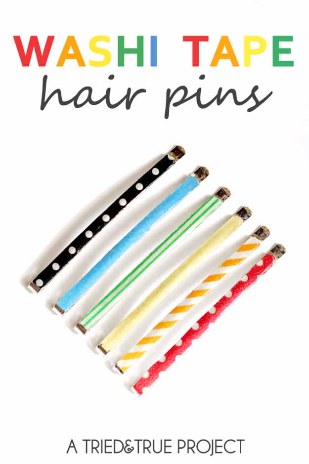 Cool Crafts You Can Make for Less than 5 Dollars | Cheap DIY Projects Ideas for Teens, Tweens, Kids and Adults | Washi Tape Hair Pins | http://diyprojectsforteens.com/cheap-diy-ideas-for-teens/