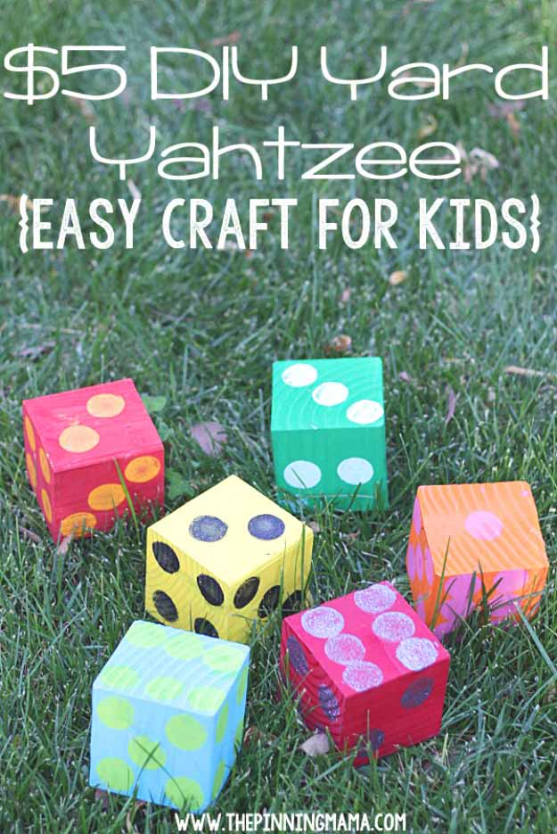 Cool Crafts You Can Make for Less than 5 Dollars | Cheap DIY Projects Ideas for Teens, Tweens, Kids and Adults | DIY Yard Yahtzee | http://diyprojectsforteens.com/cheap-diy-ideas-for-teens/