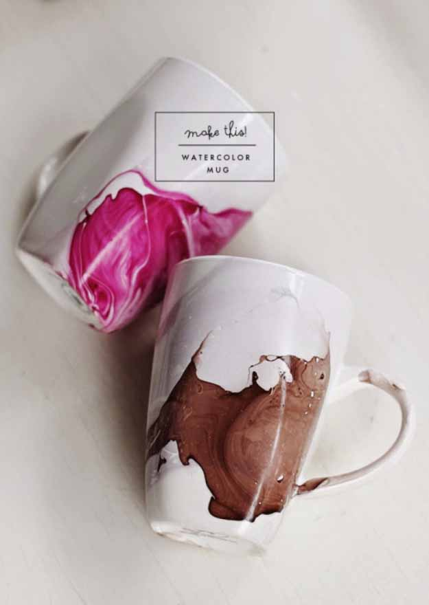 Cool Crafts You Can Make for Less than 5 Dollars | Cheap DIY Projects Ideas for Teens, Tweens, Kids and Adults | DIY Watercolor Mug | http://diyprojectsforteens.com/cheap-diy-ideas-for-teens/