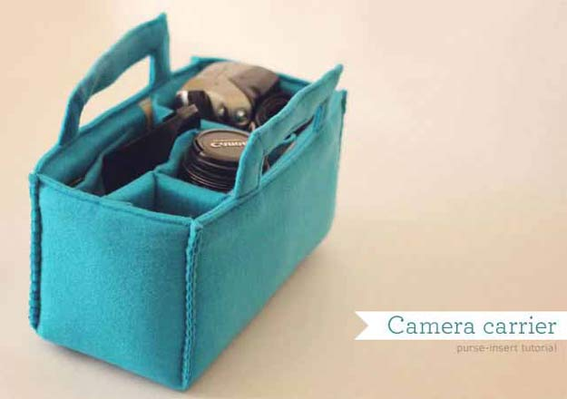 Cool Crafts for Teen Girls - Best DIY Projects for Teenage Girls - Camera carrier insert tutorial - http://diyprojectsforteens.com/cool-crafts-for-teen-girls/