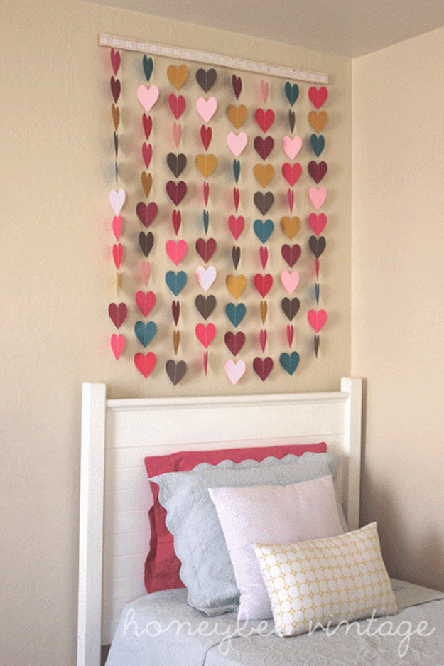 Cool Crafts You Can Make for Less than 5 Dollars | Cheap DIY Projects Ideas for Teens, Tweens, Kids and Adults | DIY-Paper-Heart-Wall-Art | http://diyprojectsforteens.com/cheap-diy-ideas-for-teens/