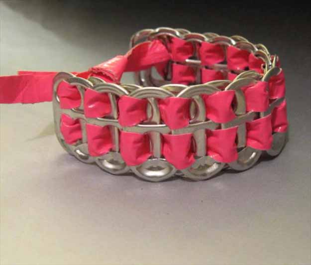 Cool Crafts You Can Make for Less than 5 Dollars | Cheap DIY Projects Ideas for Teens, Tweens, Kids and Adults | DIY Duct Tape Soda Can Tab Bracelet | http://diyprojectsforteens.com/cheap-diy-ideas-for-teens/
