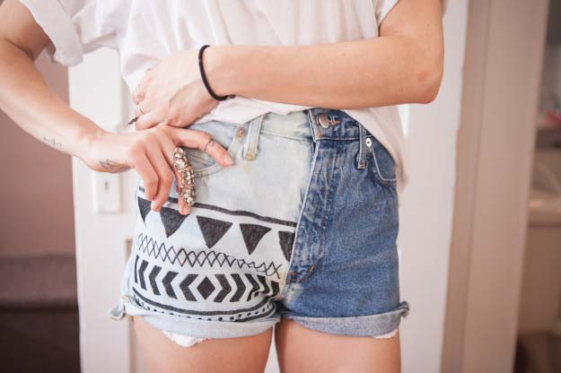 Cool DIY Fashion Ideas | Fun Do It Yourself Fashion projects | Learn how to refashion and sew jeans, T-shirts, skirts, and more | Bleached Aztec Denim Shorts | http://diyprojectsforteens.com/cool-diy-fashion-ideas/