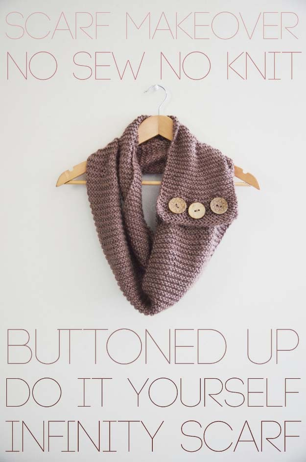 Cool DIY Fashion Ideas | Fun Do It Yourself Fashion projects | Learn how to refashion and sew jeans, T-shirts, skirts, and more | Buttoned Up Infinity Scarf | http://diyprojectsforteens.com/cool-diy-fashion-ideas/