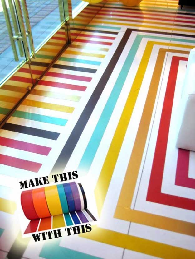 Duct Tape Crafts Ideas for DIY Home Decor, Fashion and Accessories | Colorful Duct tape flooring | DIY Projects for Teens | http://diyprojectsforteens.com/duct-tape-projects/
