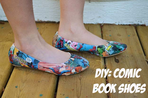 Cool DIY Fashion Ideas | Fun Do It Yourself Fashion projects | Learn how to refashion and sew jeans, T-shirts, skirts, and more | DIY Comic Book Shoes | http://diyprojectsforteens.com/cool-diy-fashion-ideas/