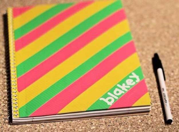 Duct Tape Crafts Ideas for DIY Home Decor, Fashion and Accessories | DIY Duct Tape Notebook Cover | DIY Projects for Teens #teencrafts #kidscrafts #ducttape #cheapcrafts /