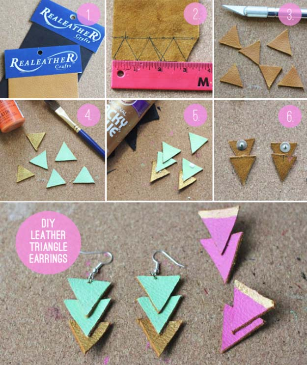 Fun DIY Jewelry Ideas | Cool Homemade Jewelry Tutorials for Adults and Teens | Awesome Bracelets, Necklaces, Earrings and Accessories You Can Make At Home | DIY Leather Triangle Earrings
