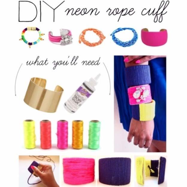 Fun DIY Jewelry Ideas | Cool Homemade Jewelry Tutorials for Adults and Teens | Awesome Bracelets, Necklaces, Earrings and Accessories You Can Make At Home | DIY NEON ROPE CUFF | http://diyprojectsforteens.com/fun-diy-jewelry-ideas-for-teens