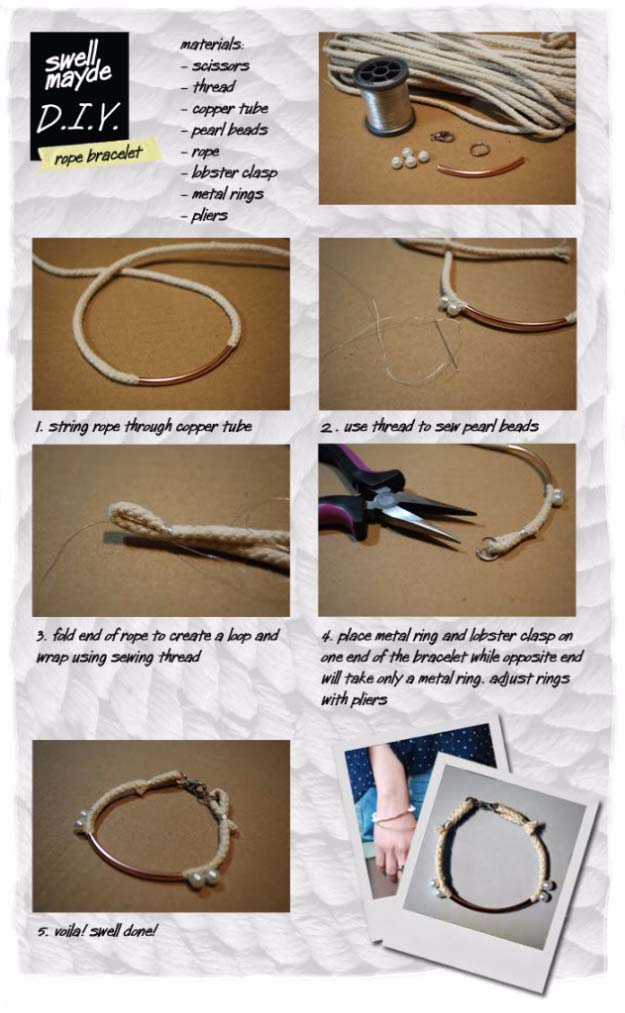 Fun DIY Jewelry Ideas | Cool Homemade Jewelry Tutorials for Adults and Teens | Awesome Bracelets, Necklaces, Earrings and Accessories You Can Make At Home | DIY ROPE BRACELET