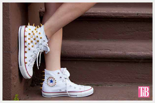 Cool Crafts for Teen Girls - Best DIY Projects for Teenage Girls - DIY Studded Converse - http://diyprojectsforteens.com/cool-crafts-for-teen-girls/