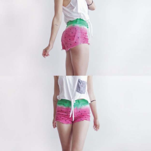 Cool DIY Fashion Ideas | Fun Do It Yourself Fashion projects | Learn how to refashion and sew jeans, T-shirts, skirts, and more | DIY Watermelon Shorts | http://diyprojectsforteens.com/cool-diy-fashion-ideas/