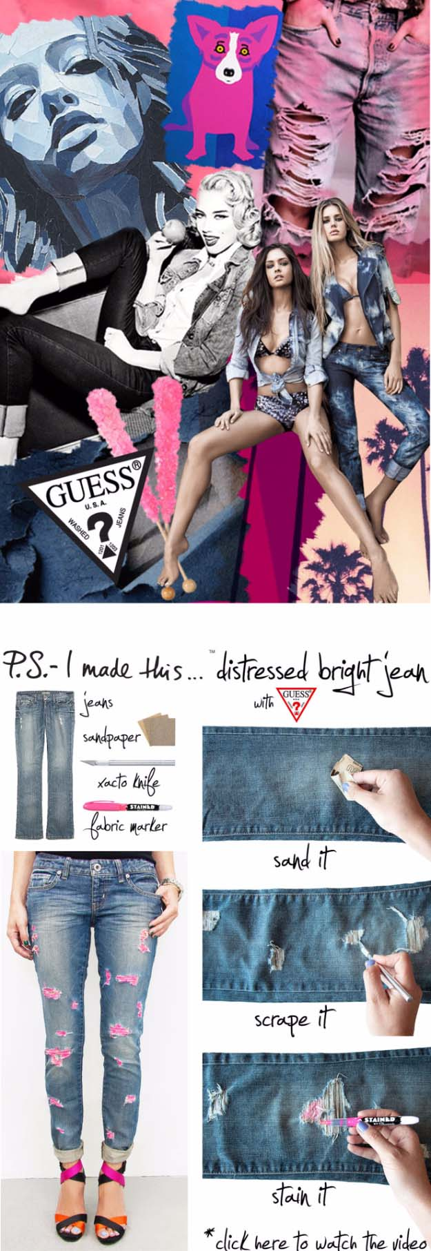 Cool DIY Fashion Ideas | Fun Do It Yourself Fashion projects | Learn how to refashion and sew jeans, T-shirts, skirts, and more | Distressed Bright Jeans | http://diyprojectsforteens.com/cool-diy-fashion-ideas/