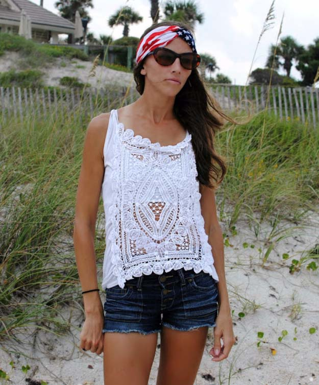 Cool DIY Fashion Ideas | Fun Do It Yourself Fashion projects | Learn how to refashion and sew jeans, T-shirts, skirts, and more | Doily Blouse | http://diyprojectsforteens.com/cool-diy-fashion-ideas/