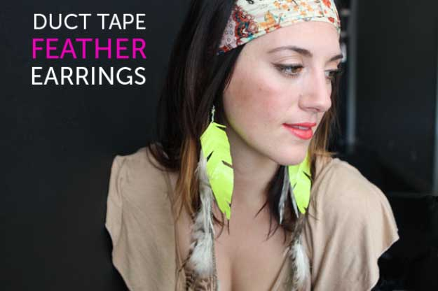 Duct Tape Crafts Ideas for DIY Home Decor, Fashion and Accessories | Flourescent Feather Duct Tape Earrings | DIY Projects for Teens | http://diyprojectsforteens.com/duct-tape-projects/