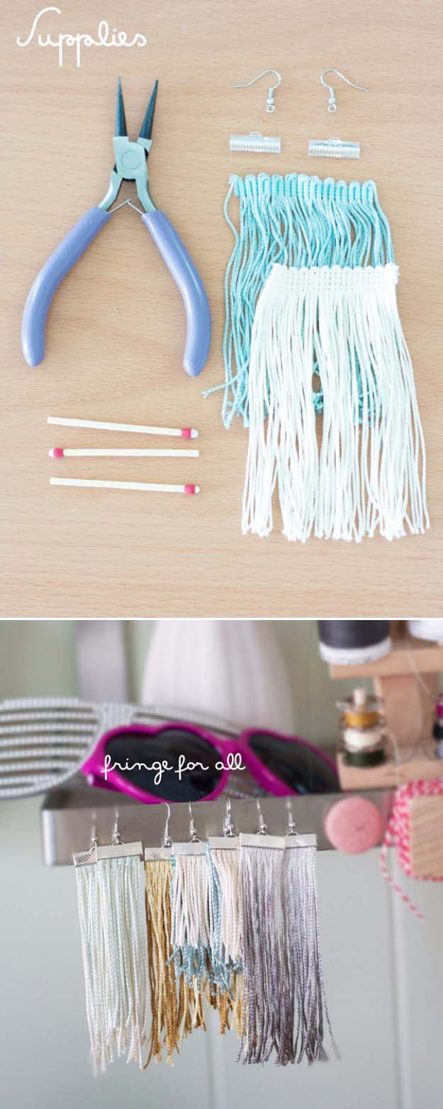 Fun DIY Jewelry Ideas | Cool Homemade Jewelry Tutorials for Adults and Teens | Awesome Bracelets, Necklaces, Earrings and Accessories You Can Make At Home | Fringe Earrings | http://diyprojectsforteens.com/fun-diy-jewelry-ideas-for-teens