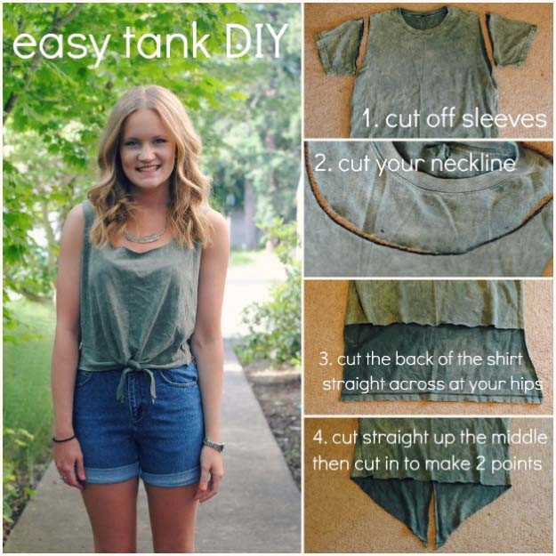 Cool DIY Fashion Ideas | Fun Do It Yourself Fashion projects | Learn how to refashion and sew jeans, T-shirts, skirts, and more | Front Knot Summer Tank | http://diyprojectsforteens.com/cool-diy-fashion-ideas/