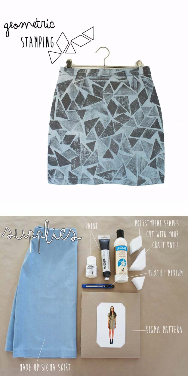 Cool DIY Fashion Ideas | Fun Do It Yourself Fashion projects | Learn how to refashion and sew jeans, T-shirts, skirts, and more | Geometric-Stamping | http://diyprojectsforteens.com/cool-diy-fashion-ideas/