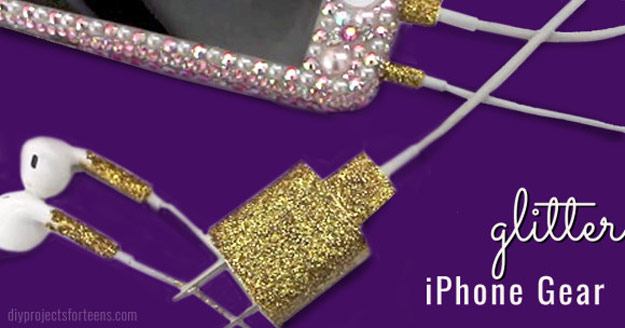 Cool DIY Ideas for Your iPhone iPad Tablets & Phones | Fun Projects for Chargers, Cases and Headphones | Glitter iPhone Gear | http://diyprojectsforteens.com/diy-projects-iphone-ipad-phone/