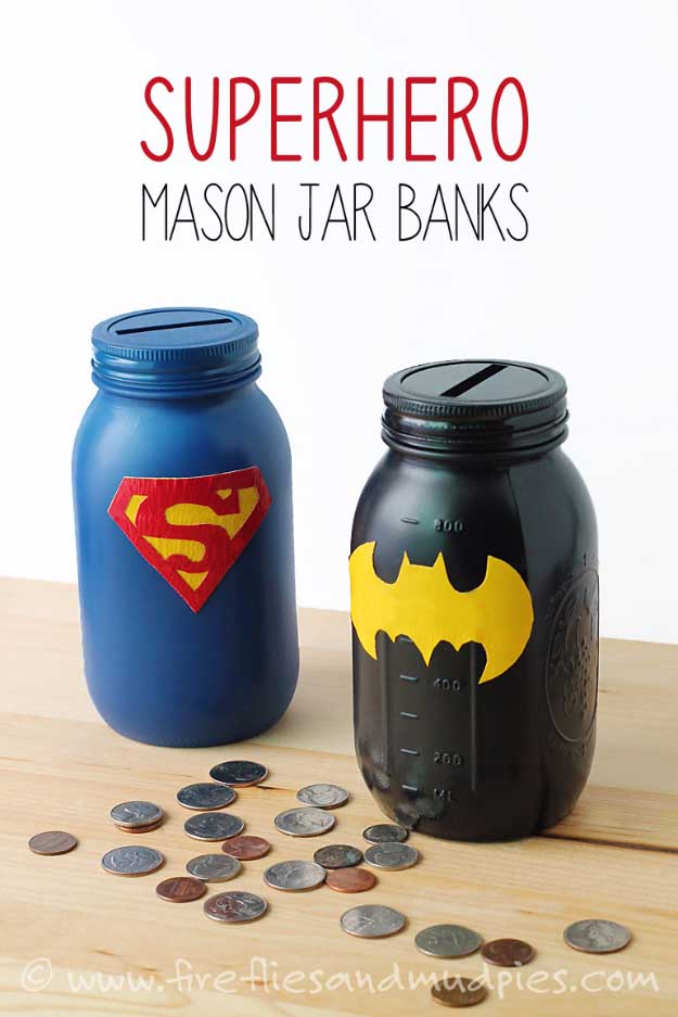 Duct Tape Crafts Ideas for DIY Home Decor, Fashion and Accessories | Mason Jar and Duct Tape Superhero Banks | DIY Projects for Teens | http://diyprojectsforteens.com/duct-tape-projects/