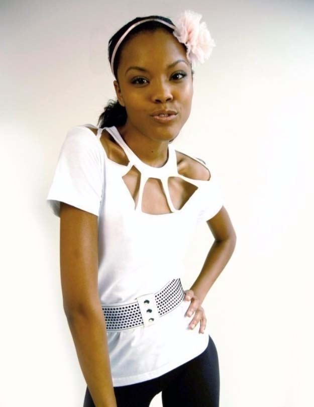Cool DIY Fashion Ideas | Fun Do It Yourself Fashion projects | Learn how to refashion and sew jeans, T-shirts, skirts, and more | Neck Cut-Out Top | http://diyprojectsforteens.com/cool-diy-fashion-ideas/