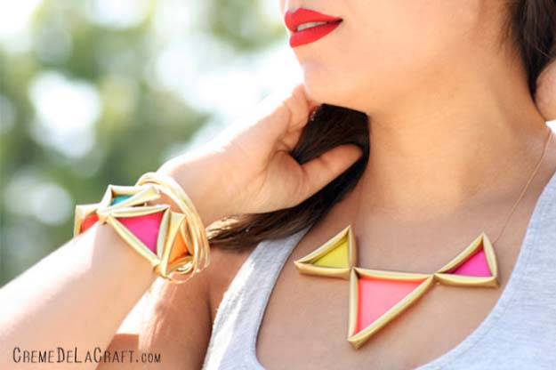 Fun DIY Jewelry Ideas | Cool Homemade Jewelry Tutorials for Adults and Teens | Awesome Bracelets, Necklaces, Earrings and Accessories You Can Make At Home | Neon Pyramid Necklace and Cuffs | http://diyprojectsforteens.com/fun-diy-jewelry-ideas-for-teens