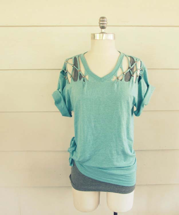 Cool DIY Fashion Ideas | Fun Do It Yourself Fashion projects | Learn how to refashion and sew jeans, T-shirts, skirts, and more | No-Sew Lattice Shoulder Cutout Tee | http://diyprojectsforteens.com/cool-diy-fashion-ideas/