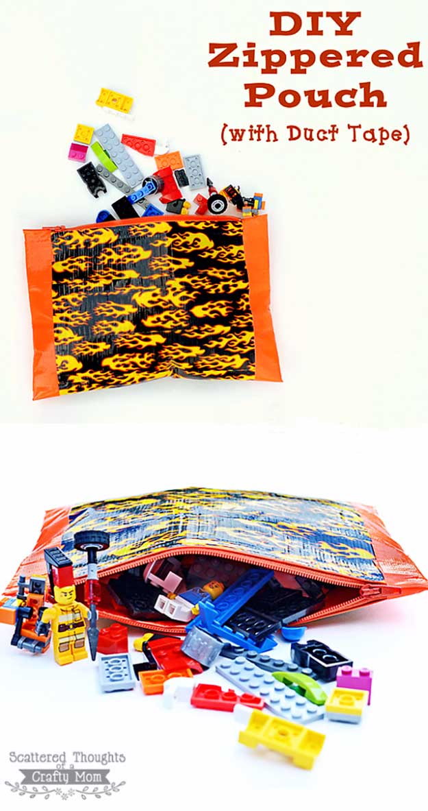 Duct Tape Crafts Ideas for DIY Home Decor, Fashion and Accessories   No Sew Zippered Pouch   DIY Projects for Teens #teencrafts #kidscrafts #ducttape #cheapcrafts /