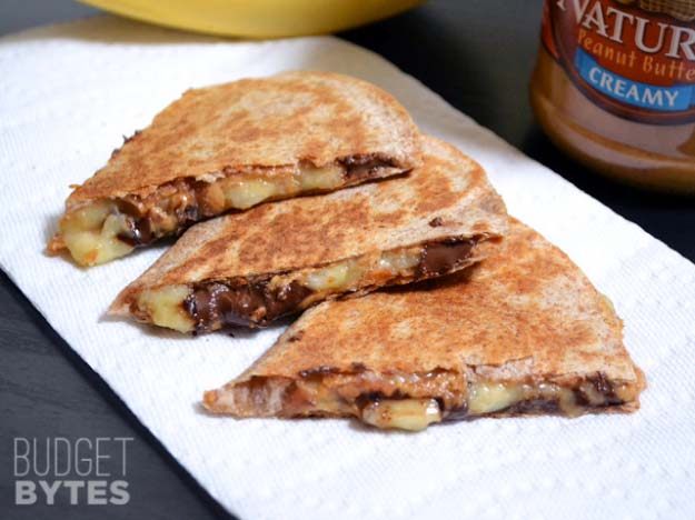 34 Fun Foods for Kids & Teens | Cool and Easy Recipes for Kids & Teenagers to Make At Home | Peanut Butter-Banana Quesadillas | http://diyprojectsforteens.com/fun-foods-for-teens-kids