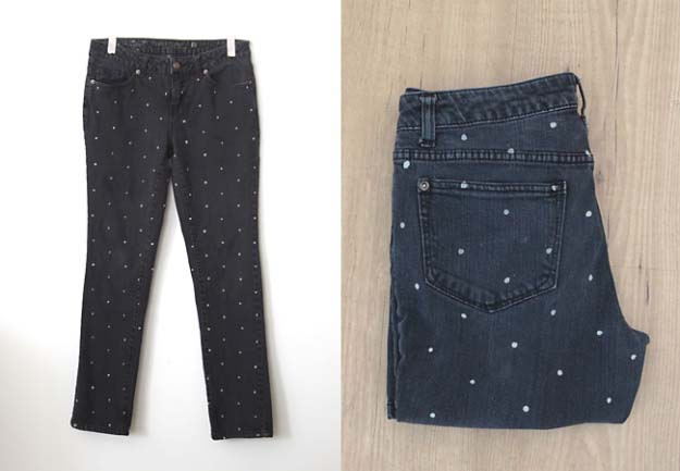 Cool DIY Fashion Ideas | Fun Do It Yourself Fashion projects | Learn how to refashion and sew jeans, T-shirts, skirts, and more | Polka Dot Skinnies | http://diyprojectsforteens.com/cool-diy-fashion-ideas/