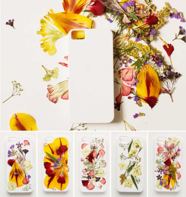 Cool DIY Ideas for Your iPhone iPad Tablets & Phones | Fun Projects for Chargers, Cases and Headphones | Pressed Flowers iphone Case | http://diyprojectsforteens.com/diy-projects-iphone-ipad-phone/