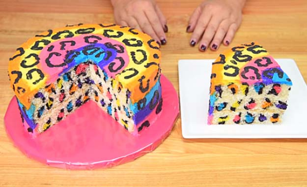 34 Fun Foods for Kids & Teens | Cool and Easy Recipes for Kids & Teenagers to Make At Home | Rainbow Leopard Cake | http://diyprojectsforteens.com/fun-foods-for-teens-kids