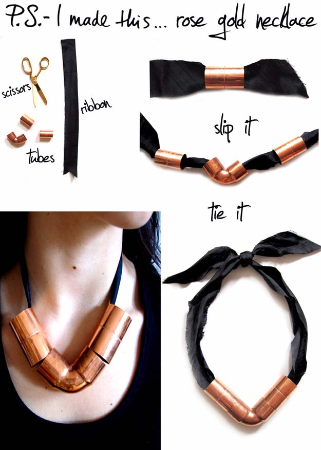 Fun DIY Jewelry Ideas | Cool Homemade Jewelry Tutorials for Adults and Teens | Awesome Bracelets, Necklaces, Earrings and Accessories You Can Make At Home | Rose Gold Necklace | http://diyprojectsforteens.com/fun-diy-jewelry-ideas-for-teens